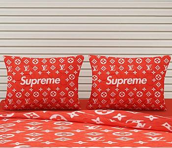 Armodi Çift Kişilik Yatak Örtüsü Red Louis Vuitton Supreme