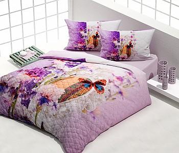 Armodi Çift Kişilik Yatak Örtüsü Purple Butterfly
