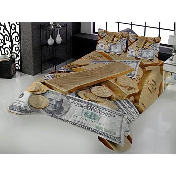 Armodi 3D Çift Kişilik Yatak Örtüsü Money and Gold